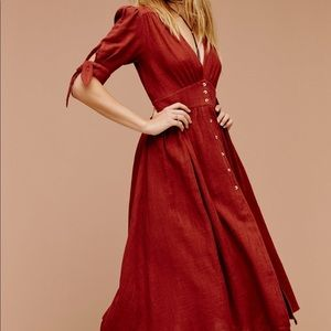 Free people love of my life midi dress rust red